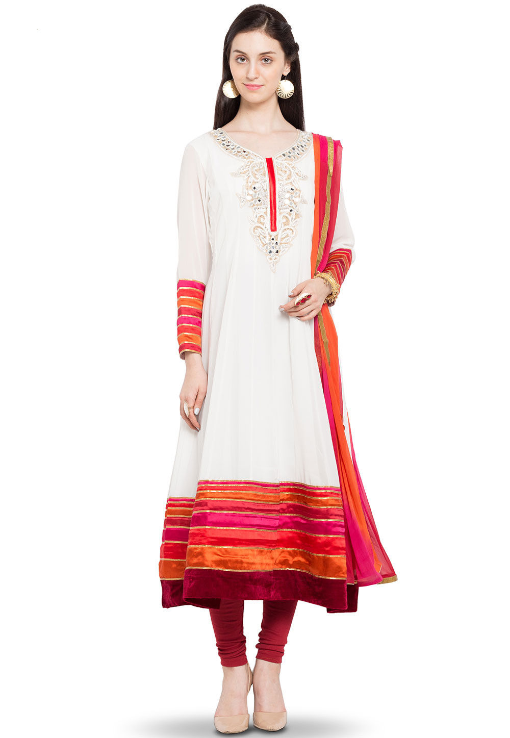 Embroidered Georgette Anarkali Suit in Off White