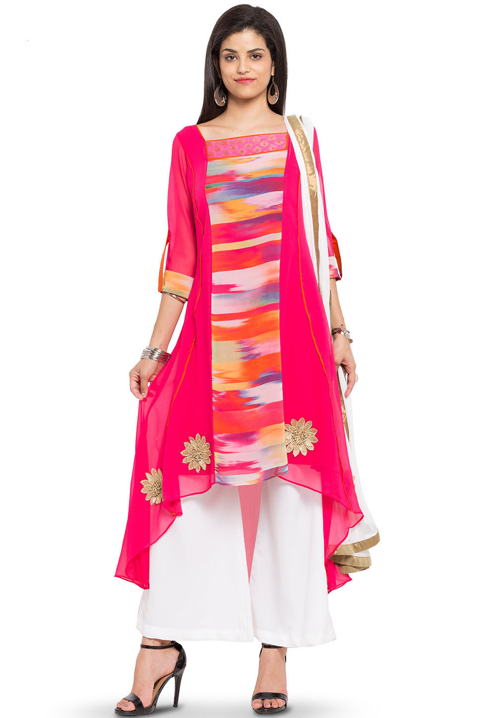Printed Georgette Pakistani Suit in Fuchsia and Multicolor
