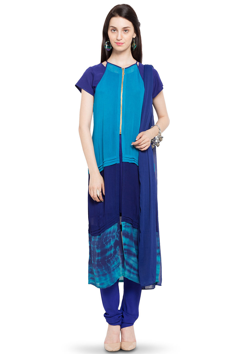 Printed Georgette Straight Suit in Blue