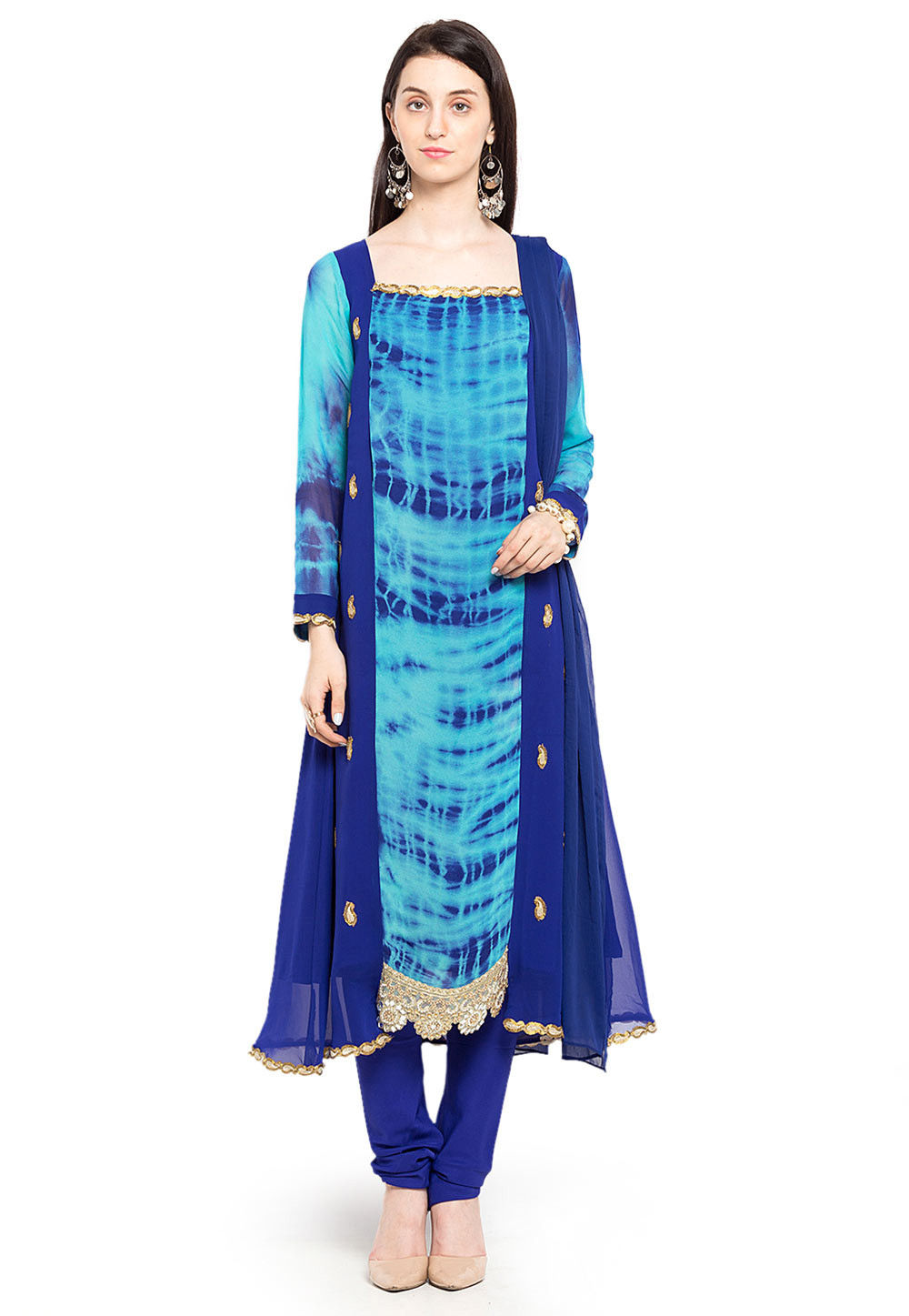 Printed Georgette A Line Suit in Blue