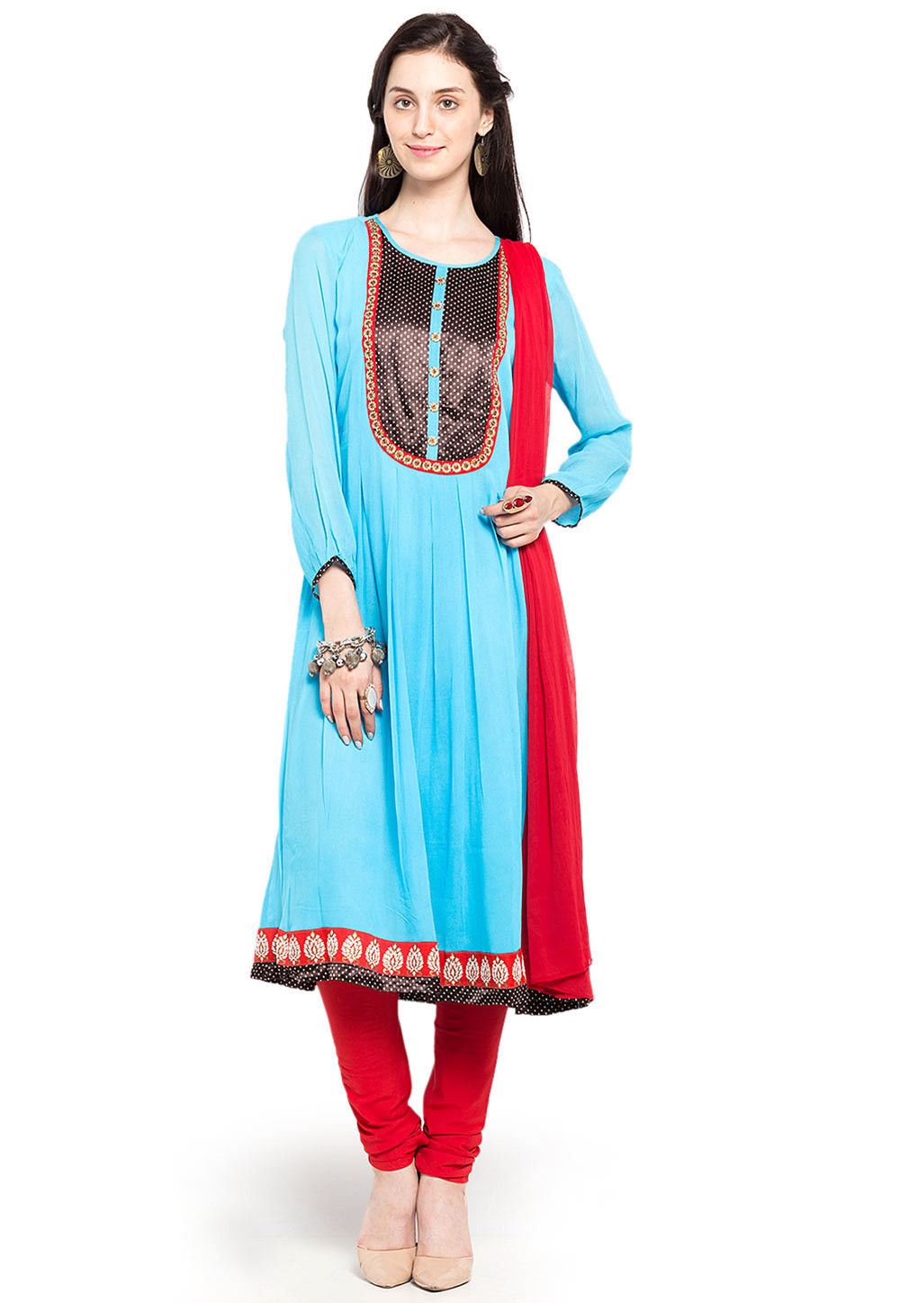Plain Georgette Anarkali Suit in Sky Blue