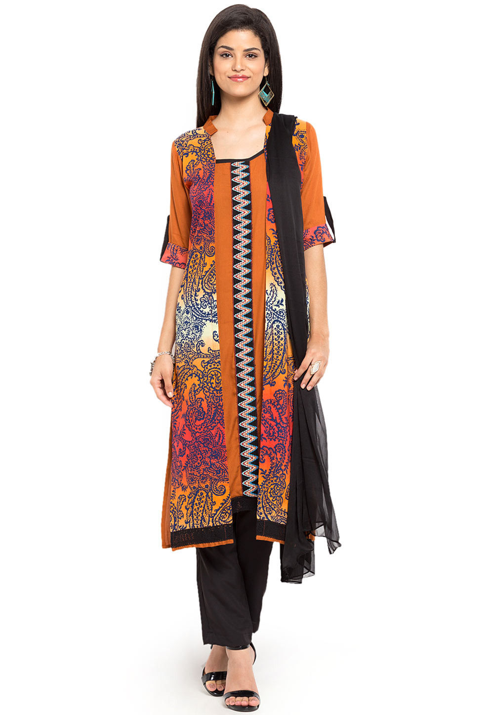 Printed Cotton Pakistani Suit in Rust and Multicolor