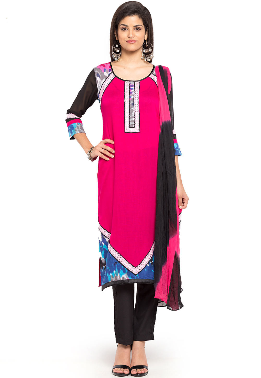 Printed Cotton Rayon Straight Suit in Fuchsia