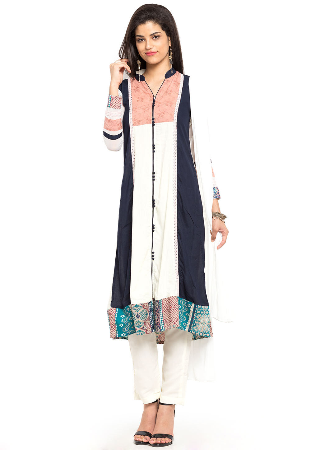 Embroidered Cotton Rayon A Line Suit in OffWhite and Black