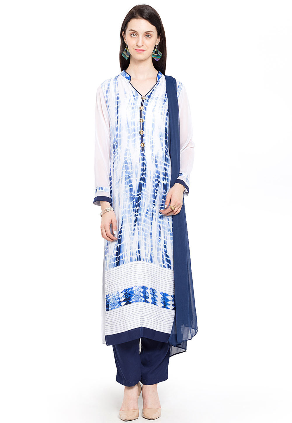 Printed Cotton Rayon Straight Suit in Off White and Blue