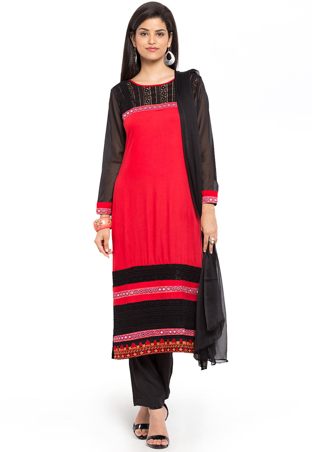 Plain Cotton Rayon Pakistani Suit in Red and Black