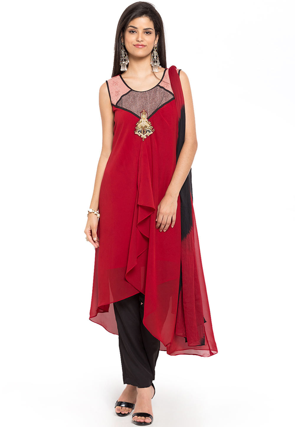 Plain Georgette Asymmetric Suit in Red