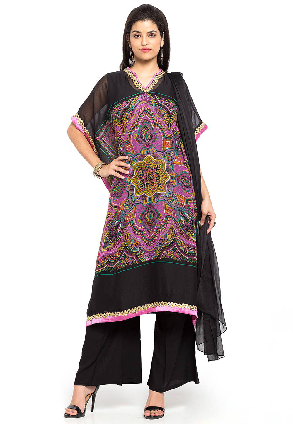 Printed Georgette Pakistani Suit in Pink and Black