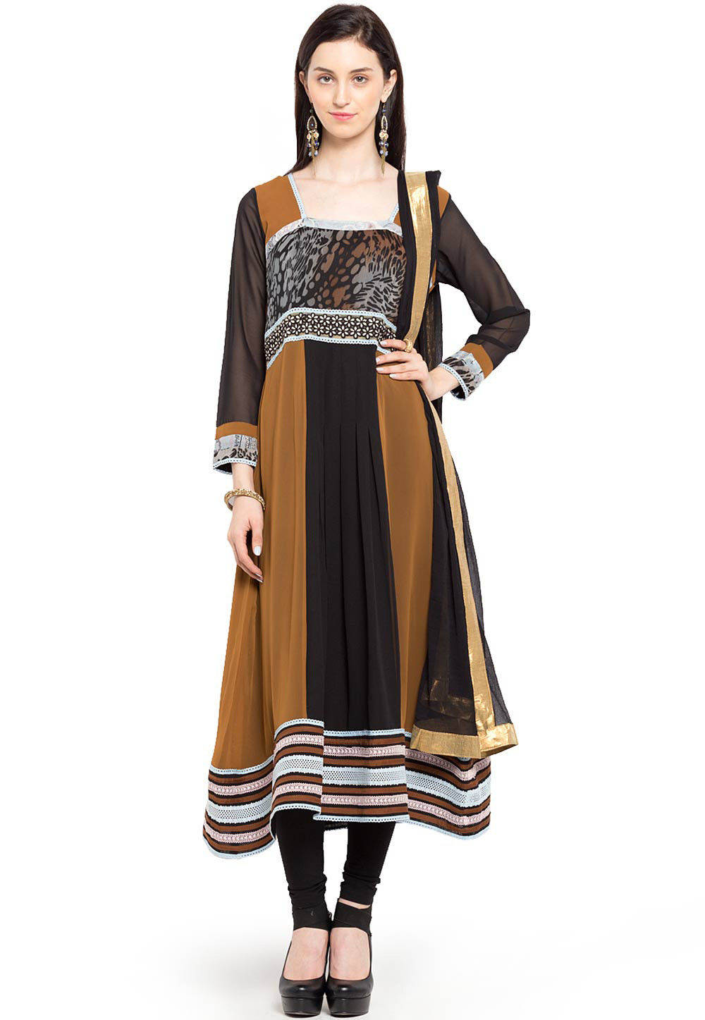 Printed Cotton Anarkali Suit in Brown and Black