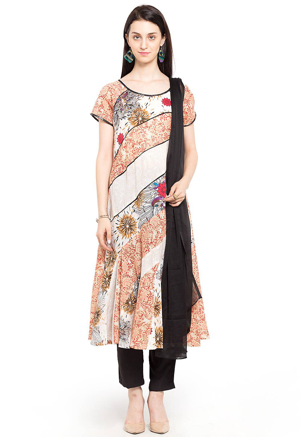 Printed Cotton Pakistani Suit in Off White and Peach