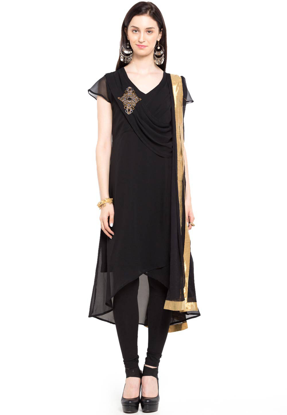 Plain Georgette Asymmetric Suit in Black