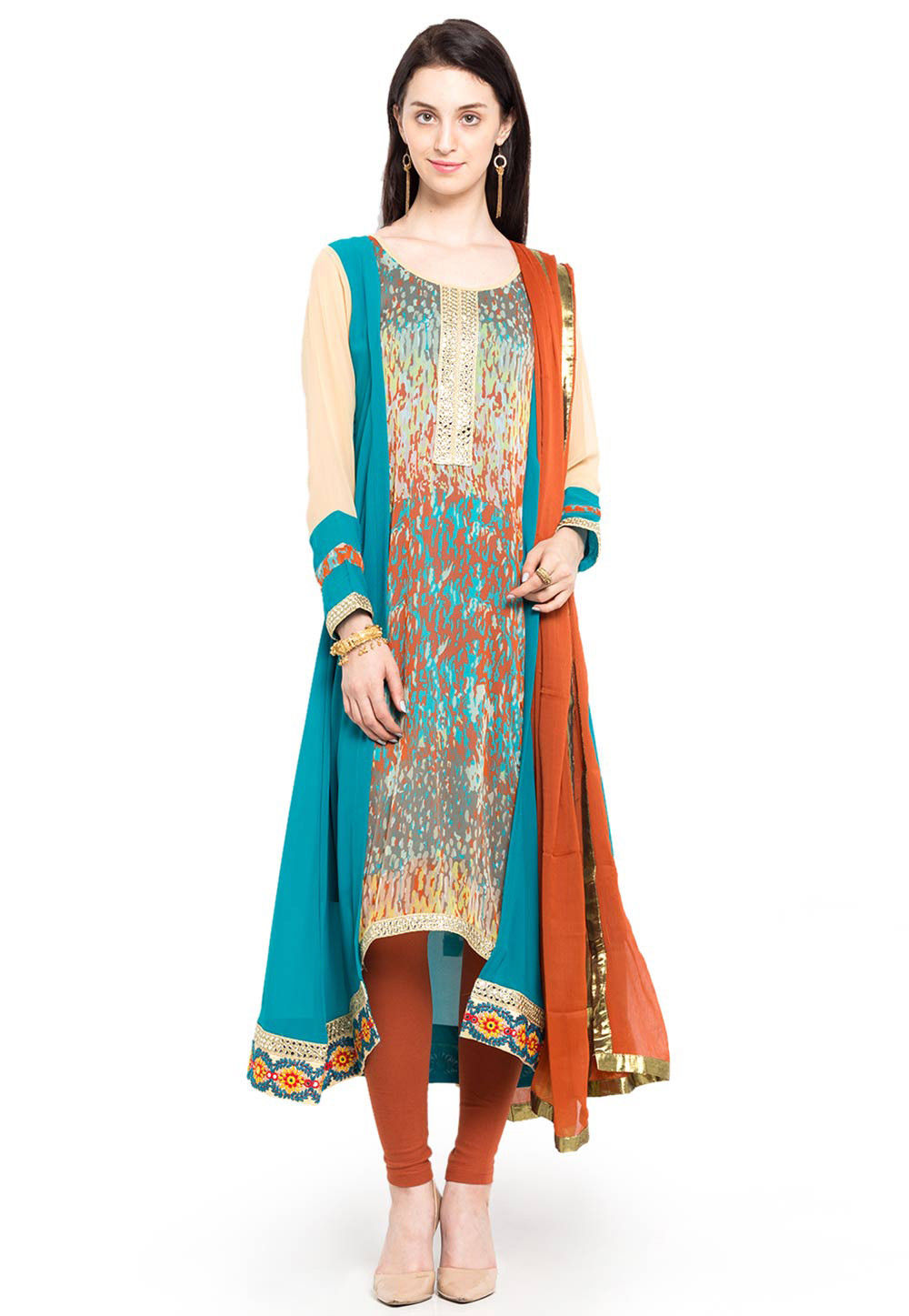Printed Georgette A Line Asymmetric Suit in Blue and Beige