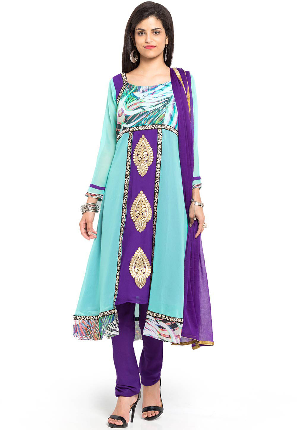 Embroidered Georgette A Line Asymmetric Suit in Blue