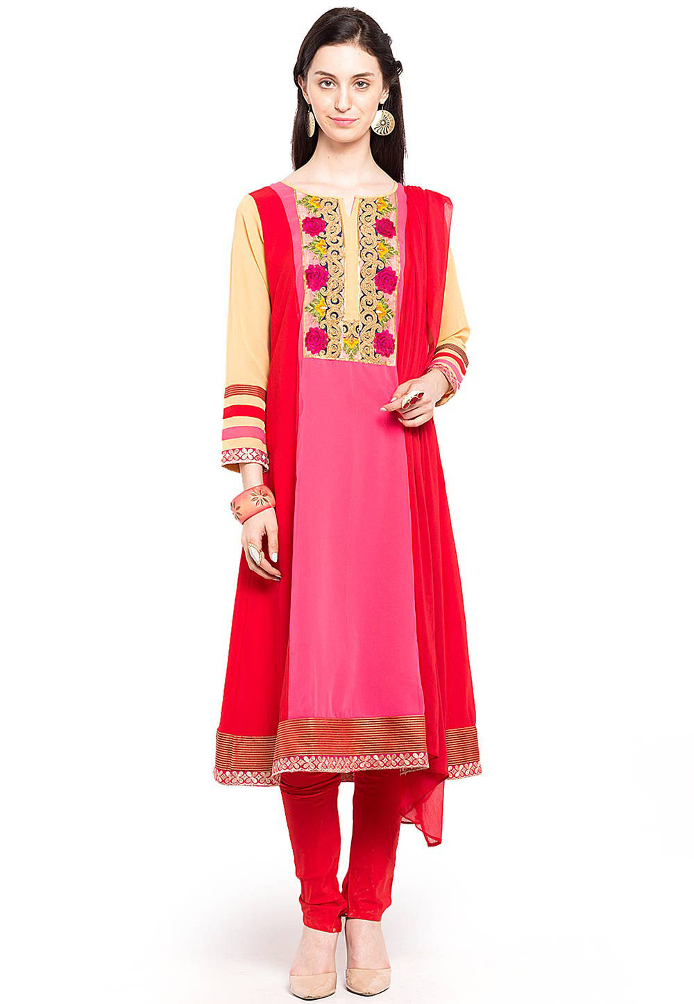 Embroidered Georgette A Line Suit in Pink