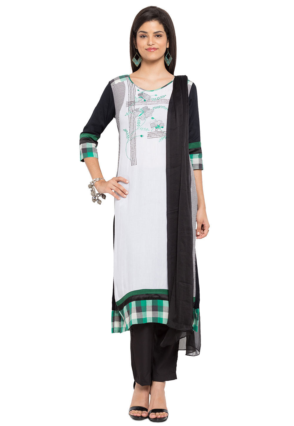Embroidered Cotton Pakistani Suit in White and Black