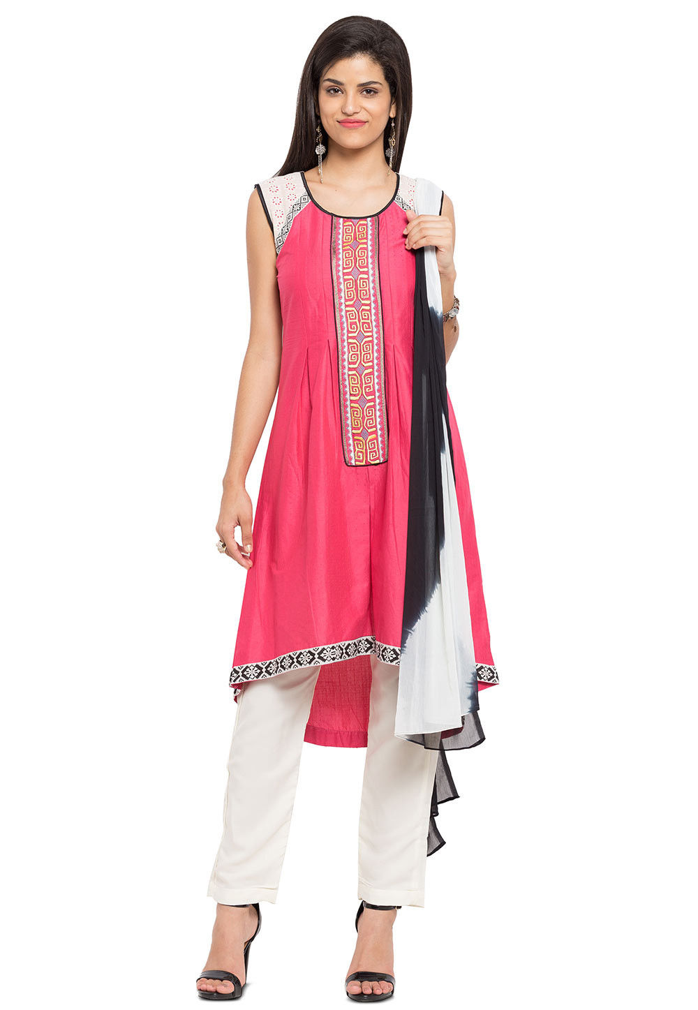 Embroidered Cotton Jacquard A Line Suit in Coral