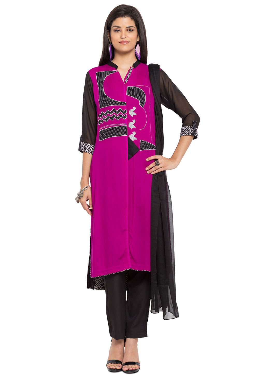 Embroidered Georgette Pakistani Suit in Magenta and Black