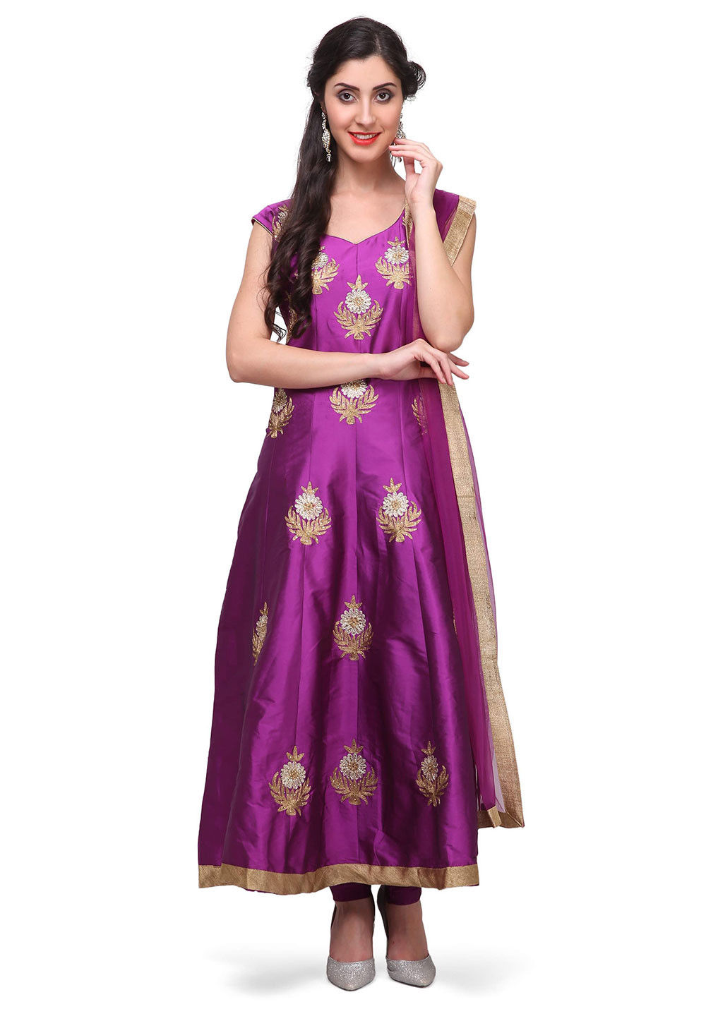 Embroidered Art Silk Anarkali Suit in Purple