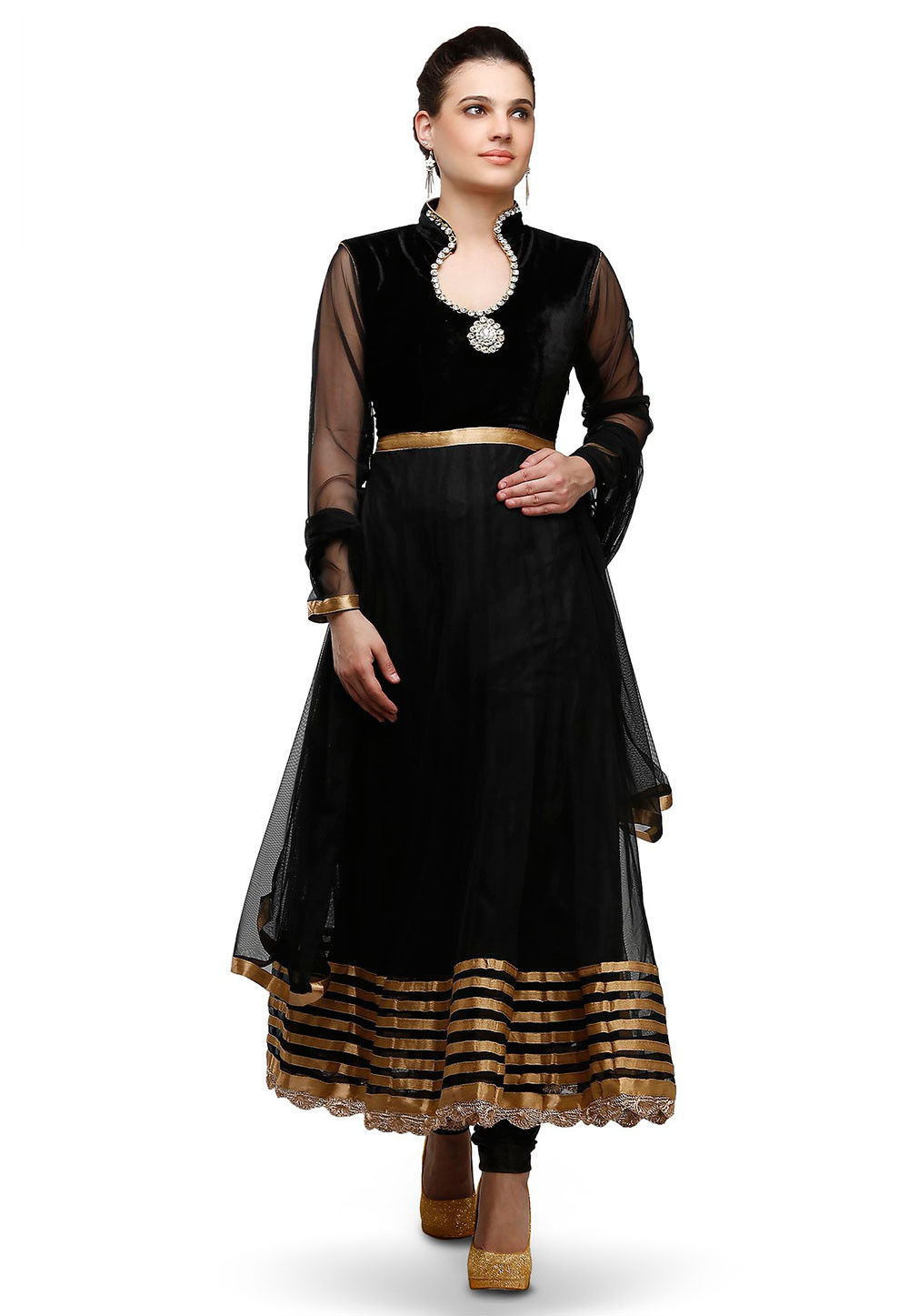 Plain Velvet and Net Anarkali Suit in Black