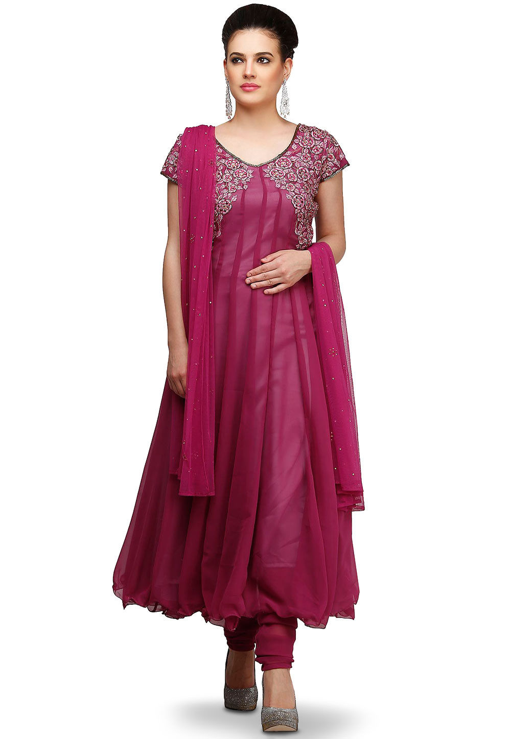Hand Embroidered Georgette Anarkali Suit in Magenta