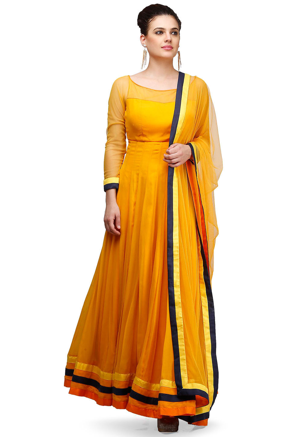 Plain Viscose Georgette Abaya Style Suit in Mustard