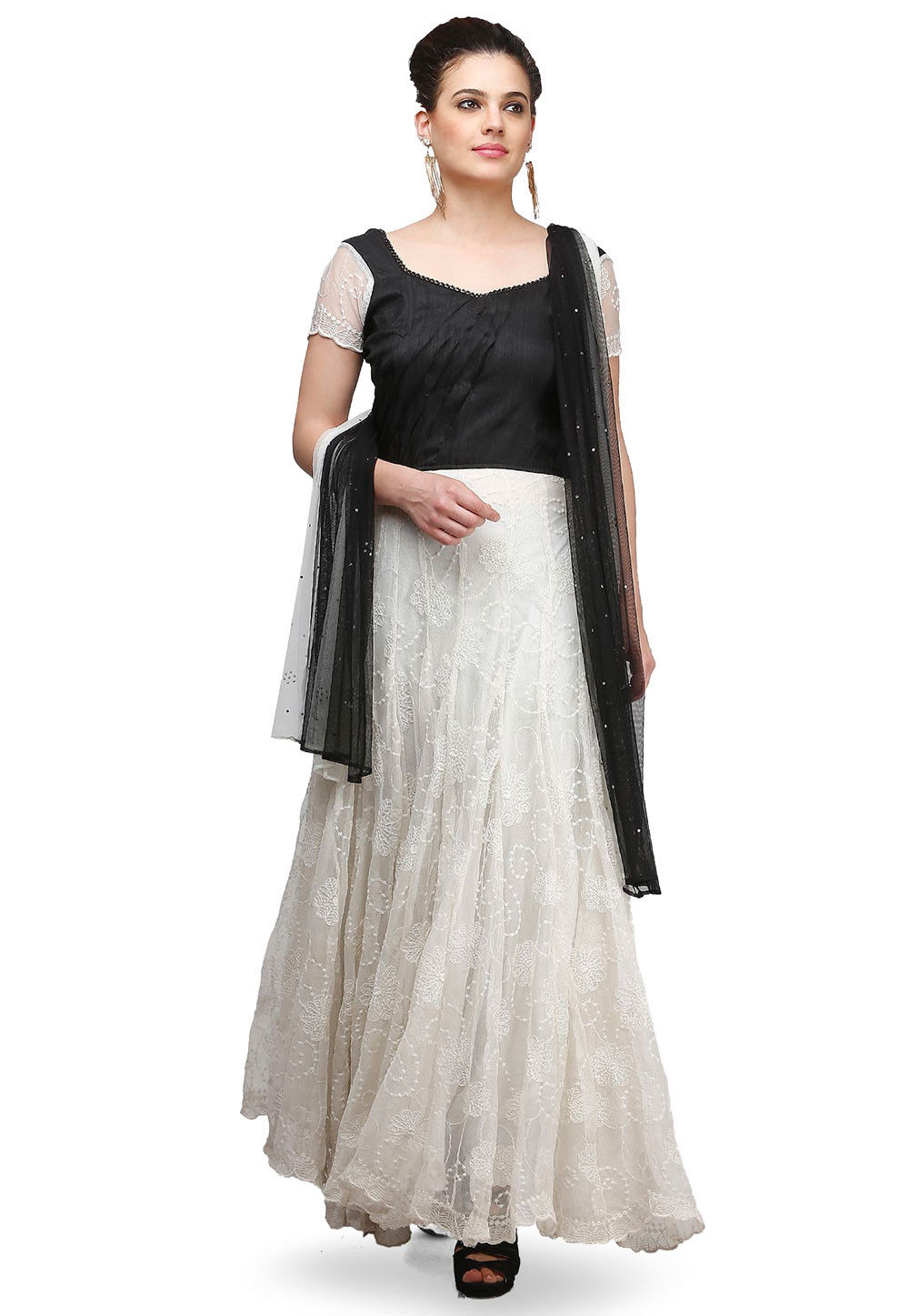 Embroidered Georgette Abaya Style Suit in White and Black