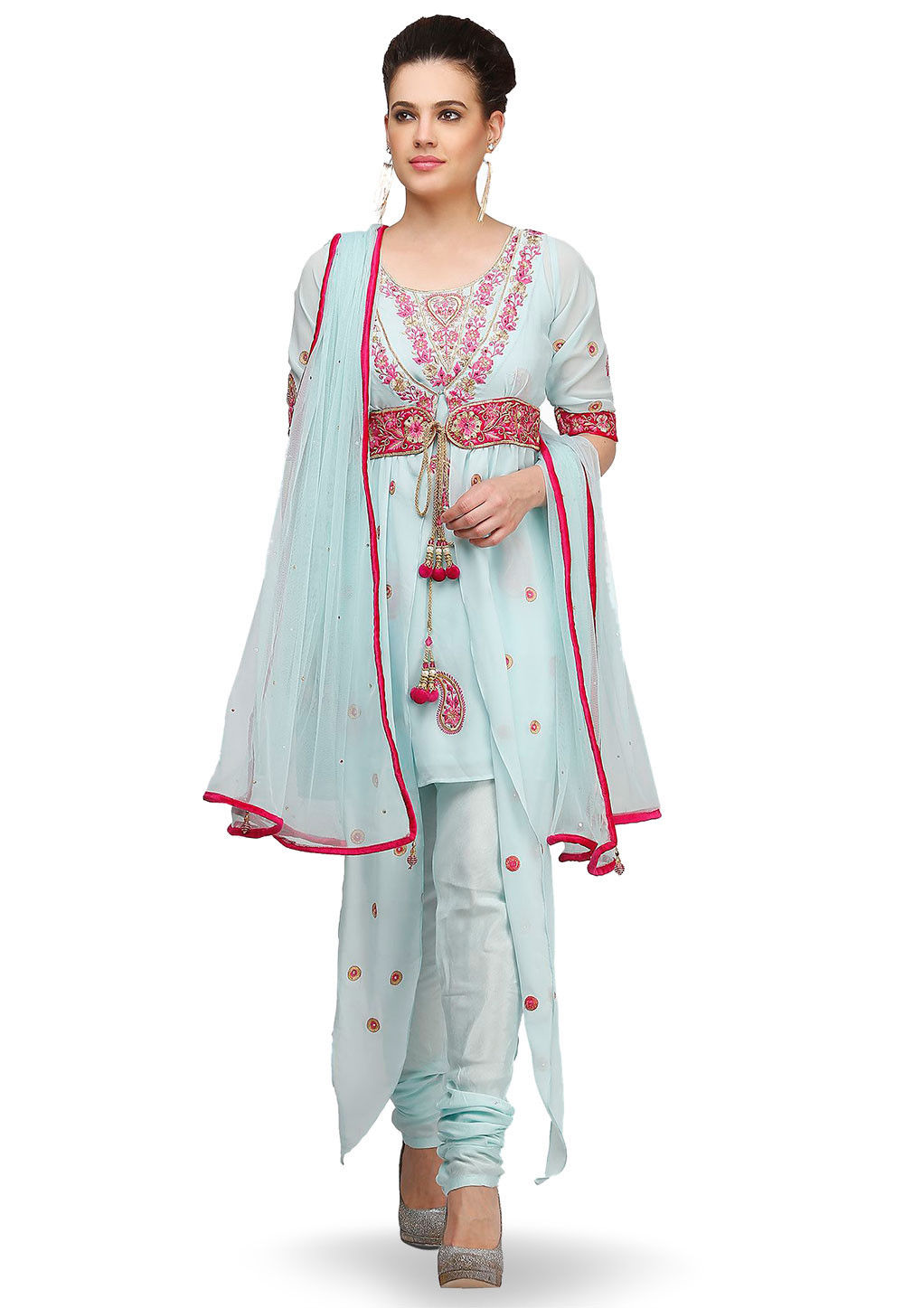 Embroidered Georgette Asymmetric A Line Suit in Sky Blue