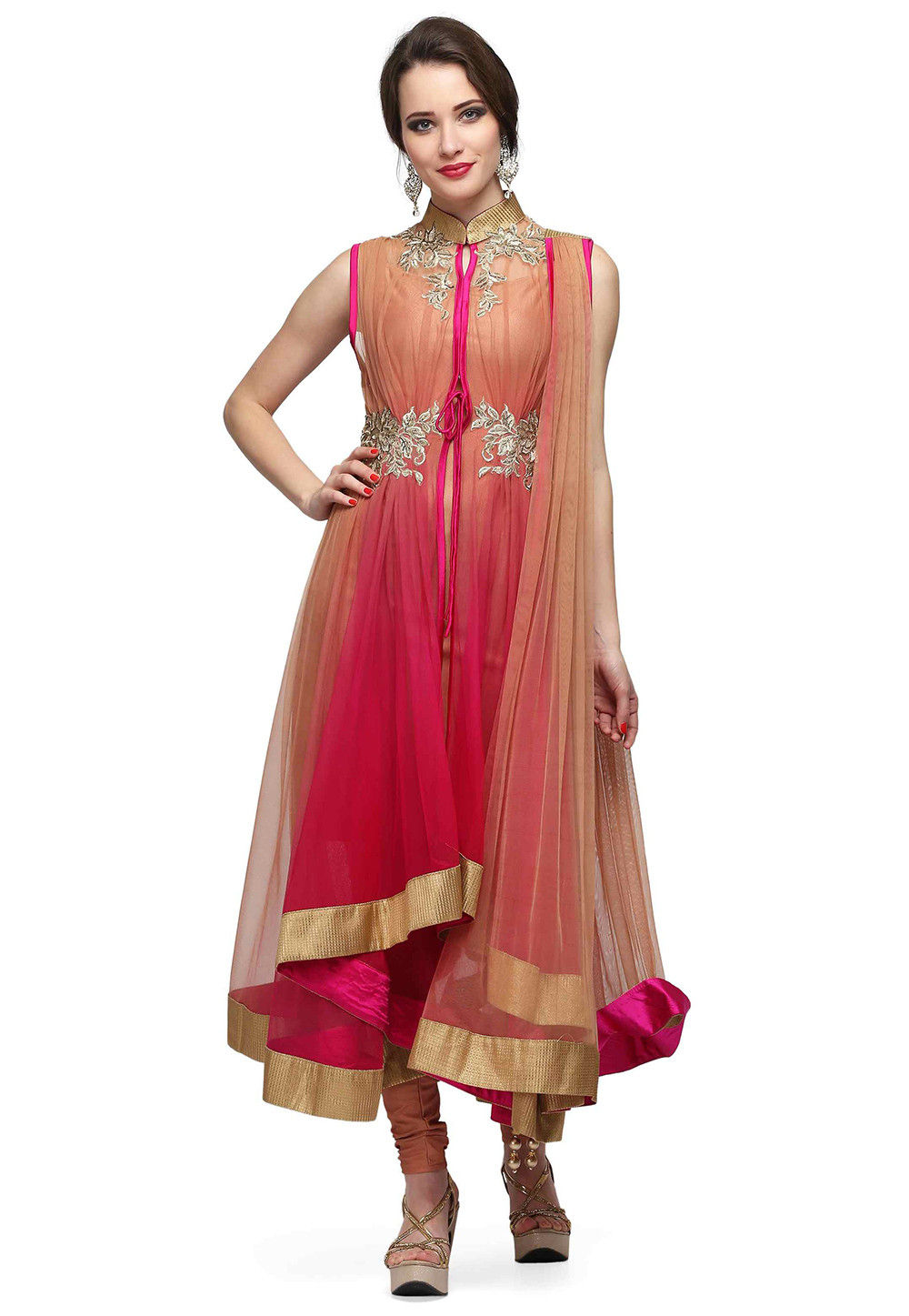 Hand Embroidered Net A Line Suit in Shaded Beige and Fuchsia