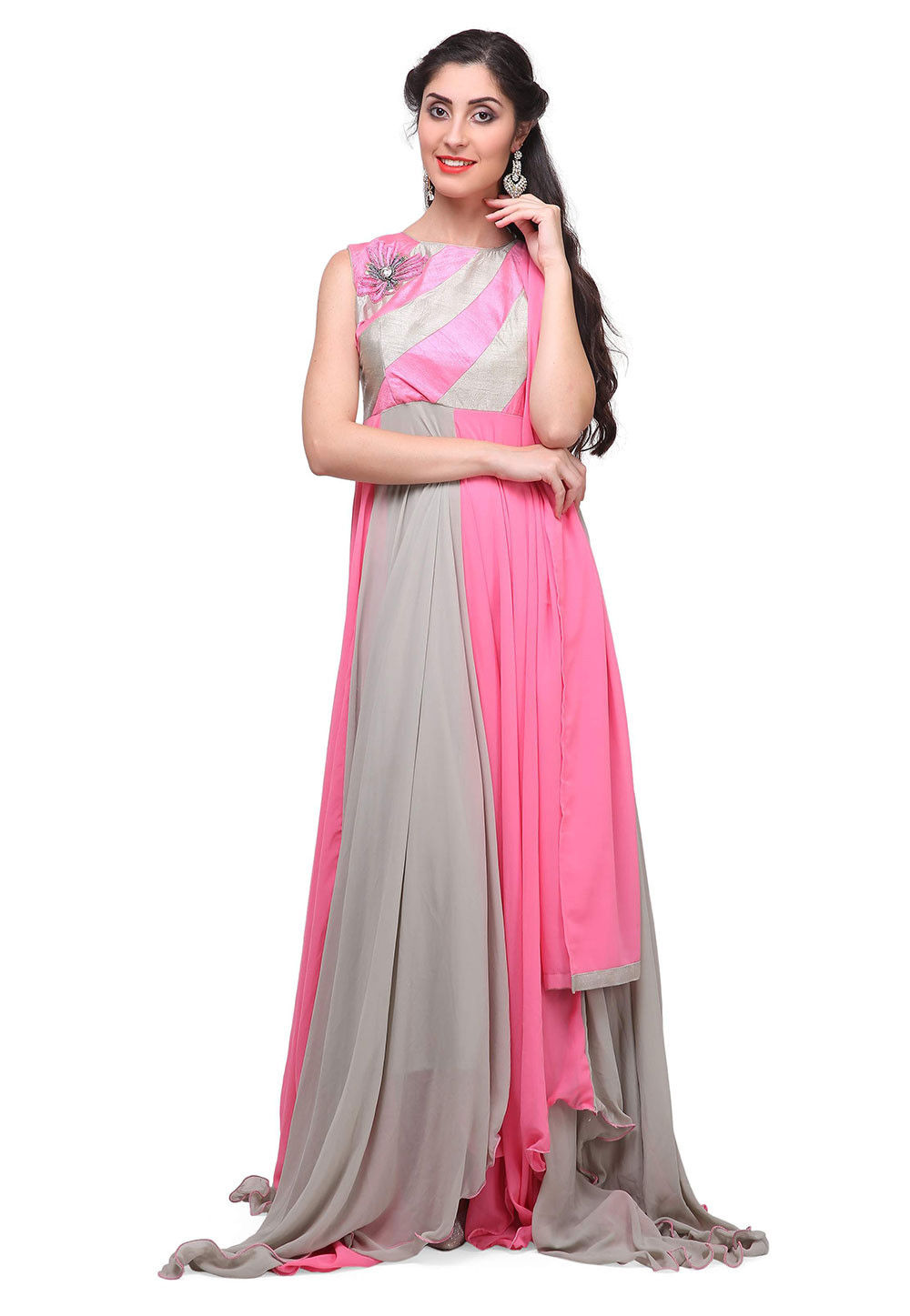 Plain Georgette Abaya Style Suit in Pink and Grey