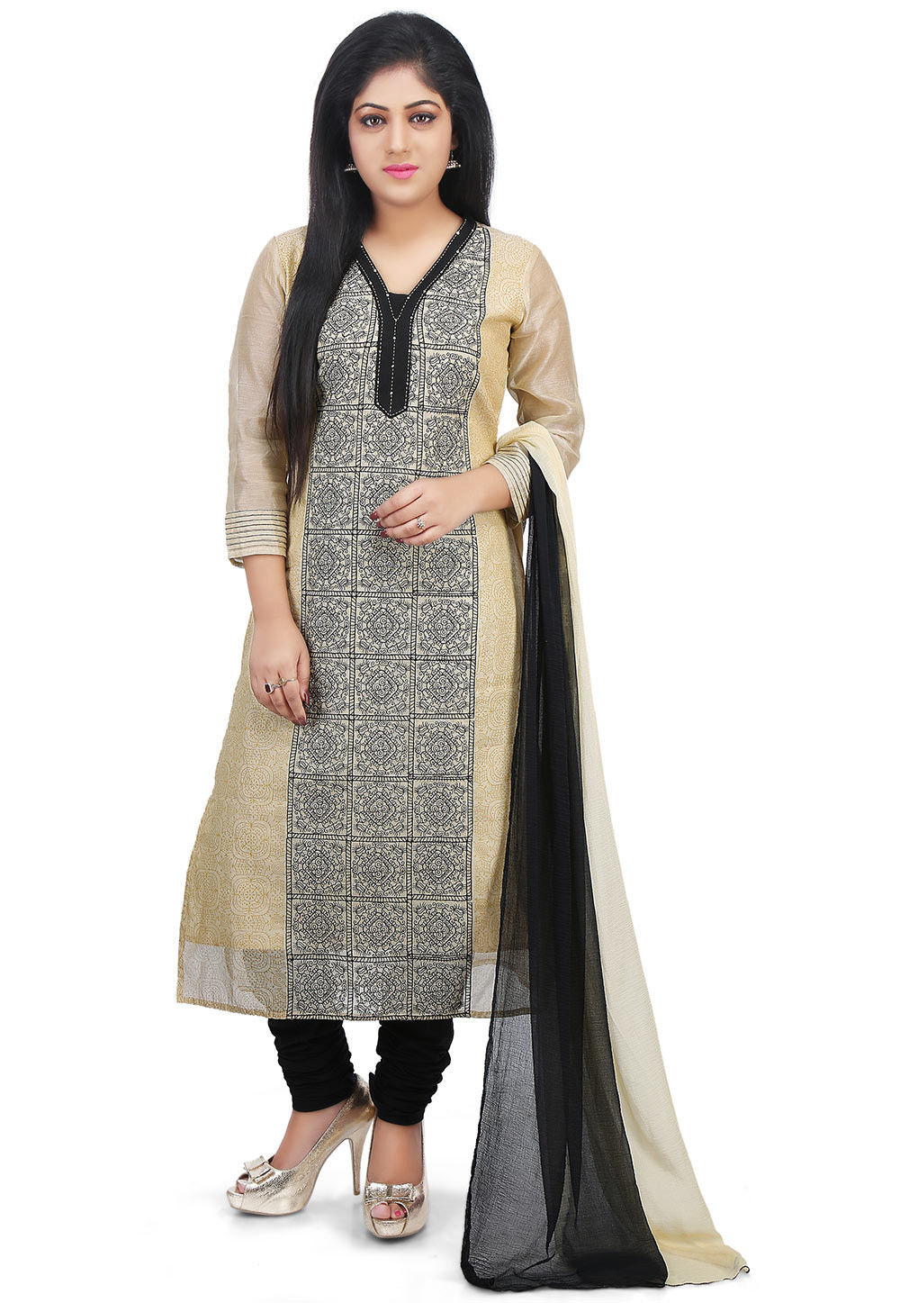 Printed Chanderi Silk Straight Suit in Beige