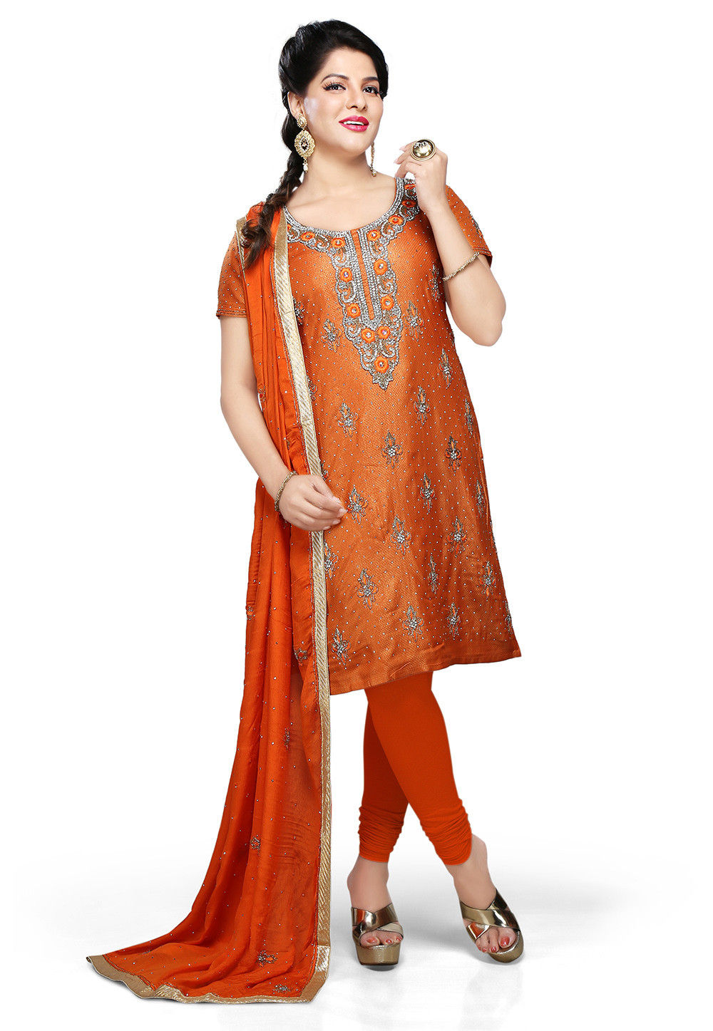 Embroidered Brocade Straight Cut Suit in Orange
