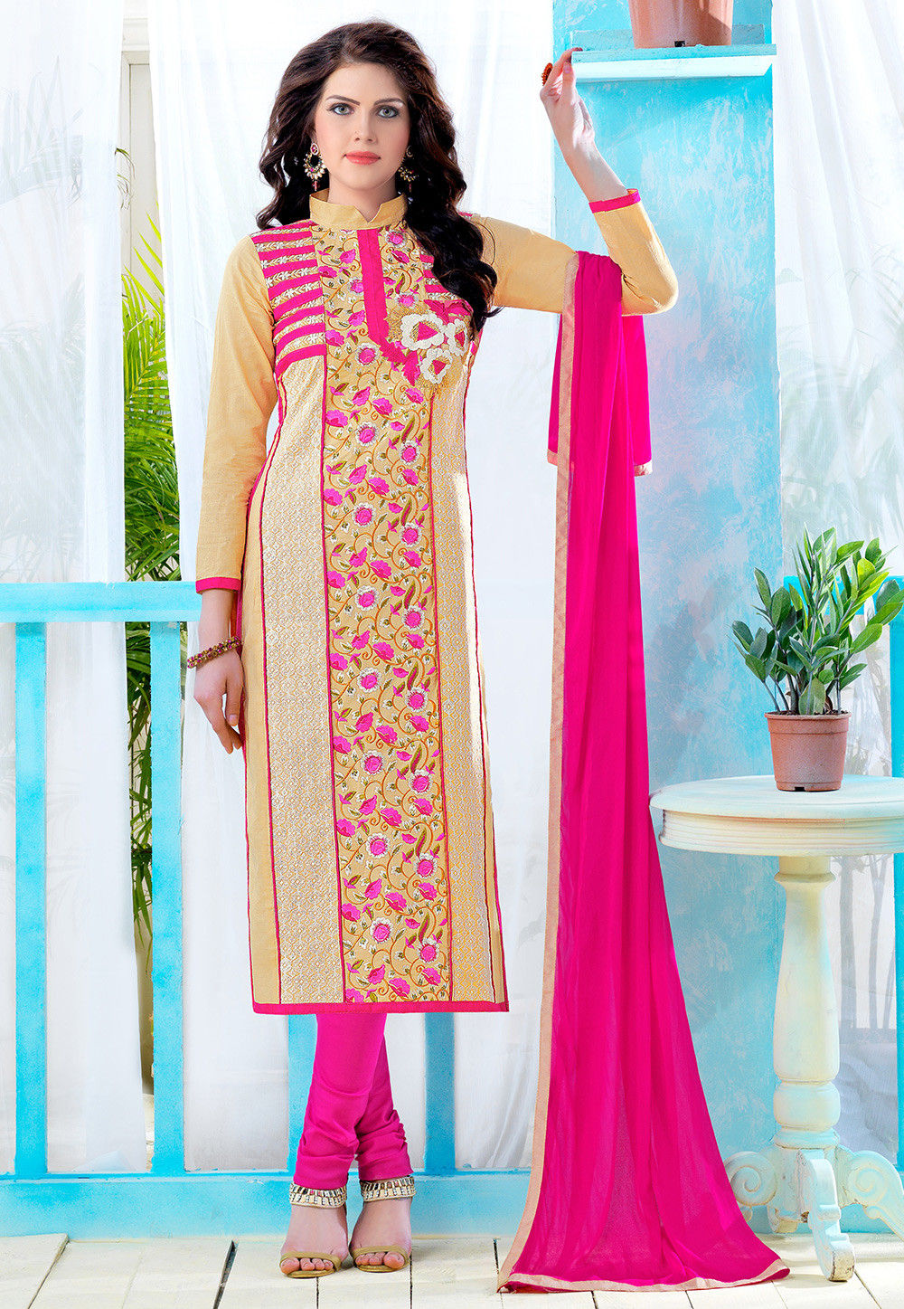 Embroidered Poly Cotton Straight Cut Suit in Beige