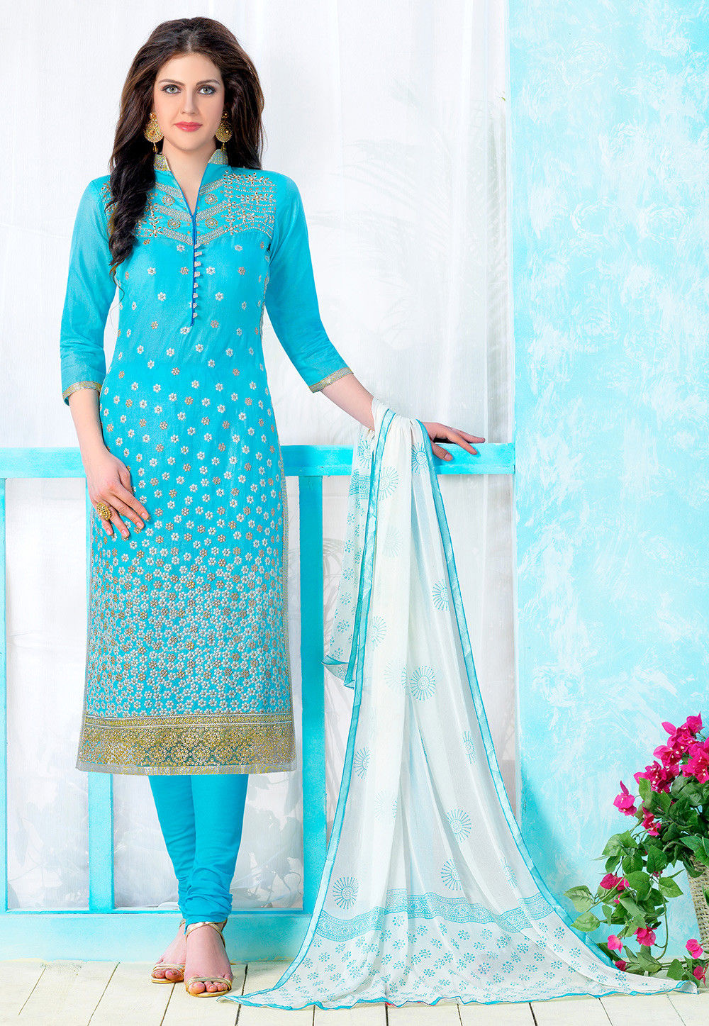 Embroidered Poly Cotton Straight Suit in Sky Blue