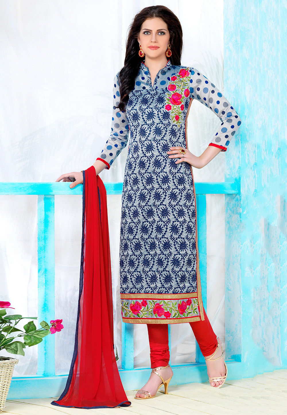Printed Art Silk Straight Cut Suit in Light Grey and Blue