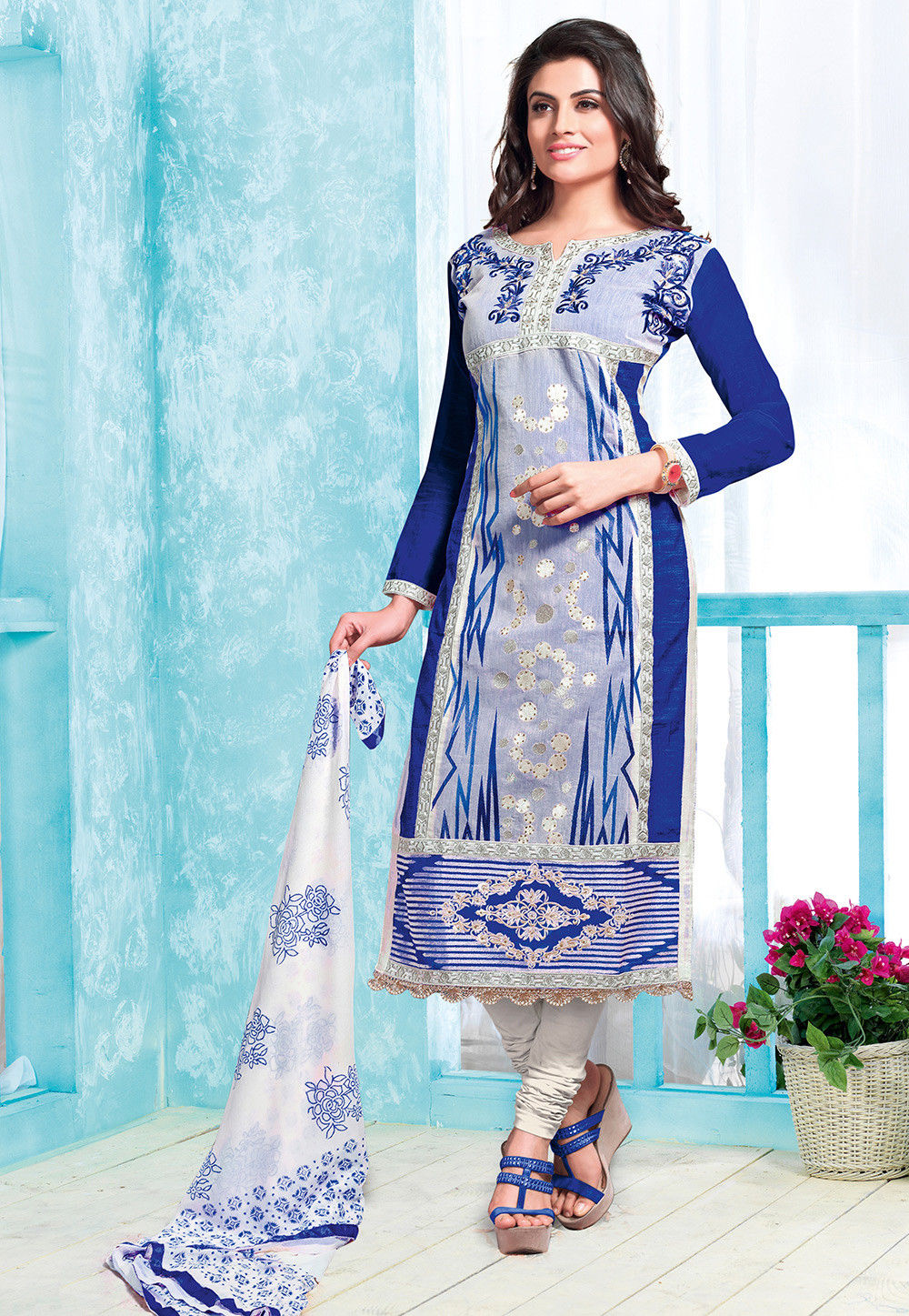 Embroidered Poly Cotton Straight Cut Suit in Blue