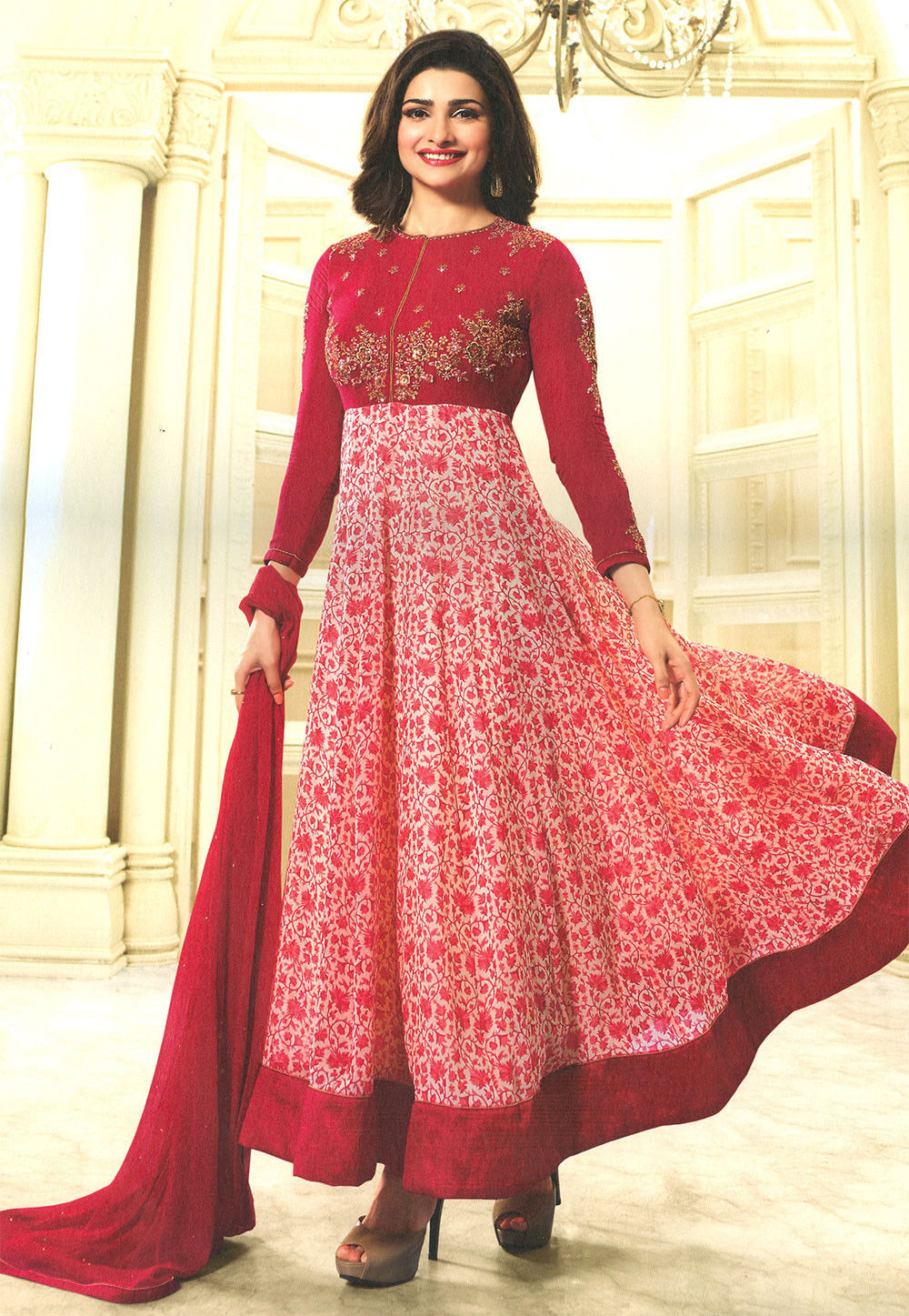 Embroidered Georgette Abaya Style Suit in Red and Off White