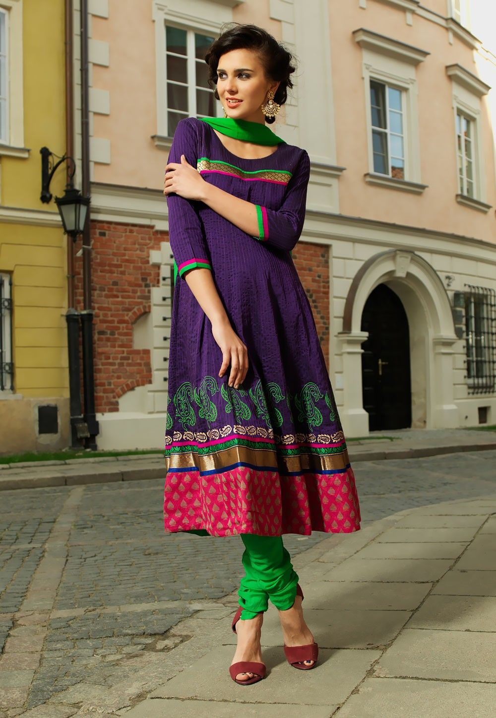 Printed Anarkali Art Silk Suit in Purple