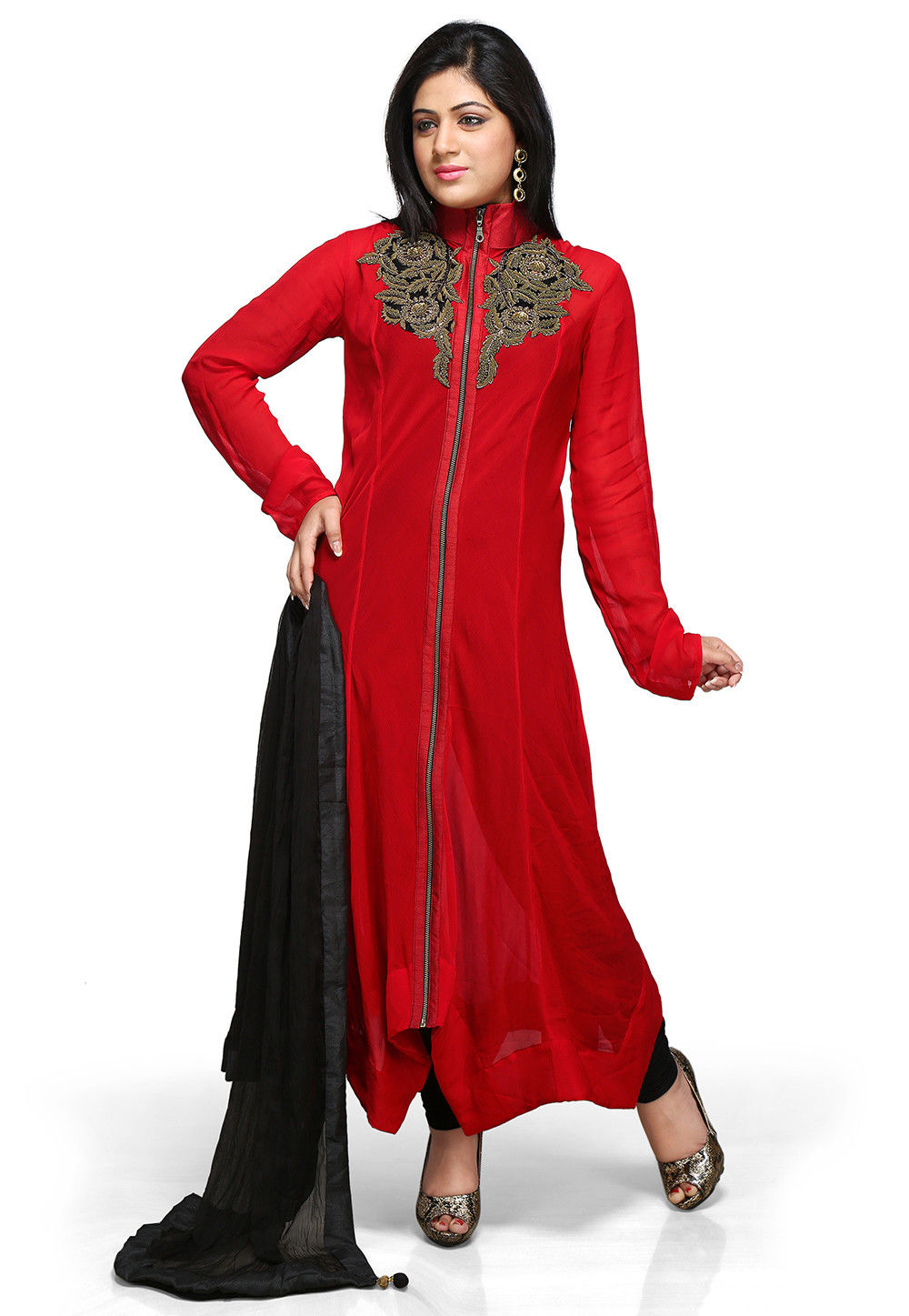 Straight Cut Asymmetric Georgette Suit In Red