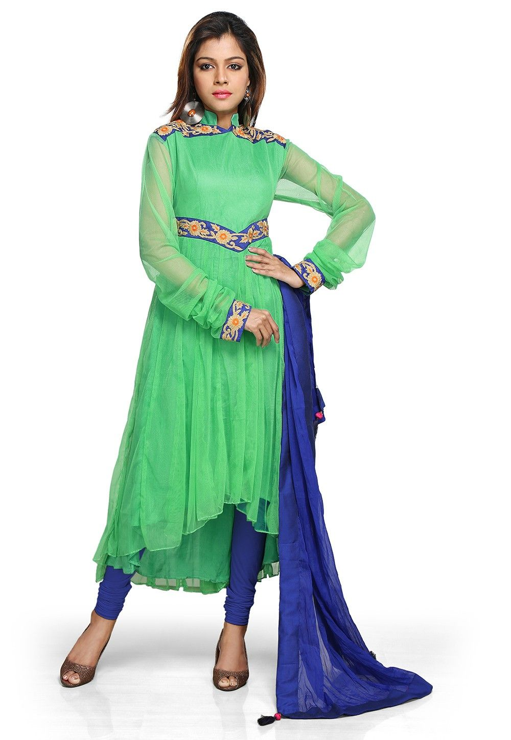 Embroidered Chiffon Anarkali Suit In Light Green