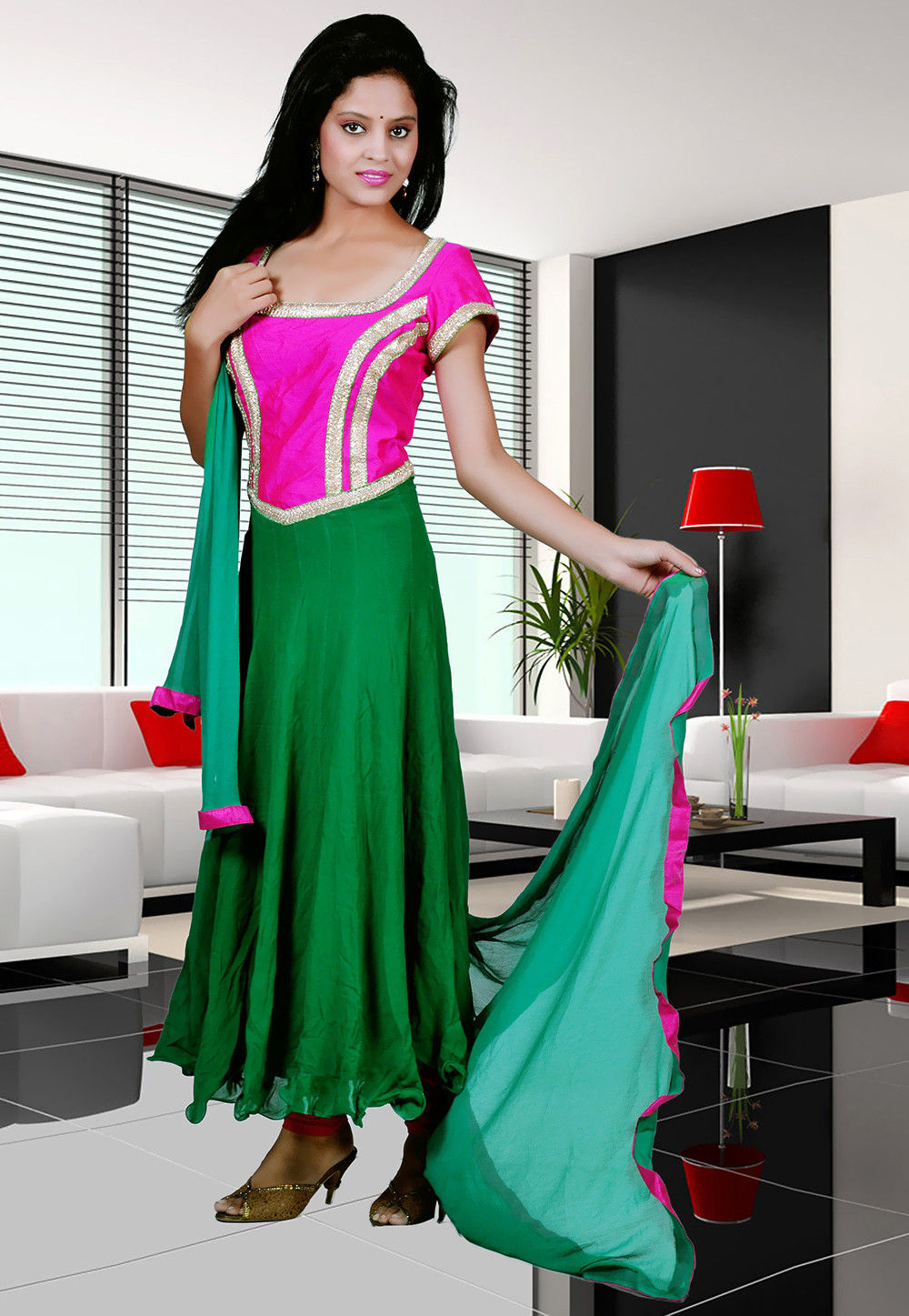 Anarkali Suit Viscose In Fuchsia And Green