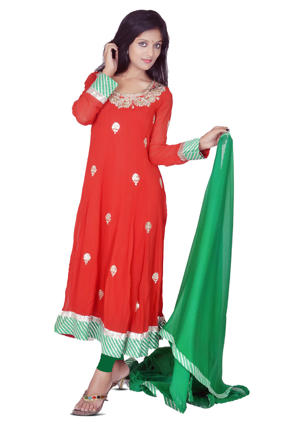 Embroidered Anarkali Suit in Red