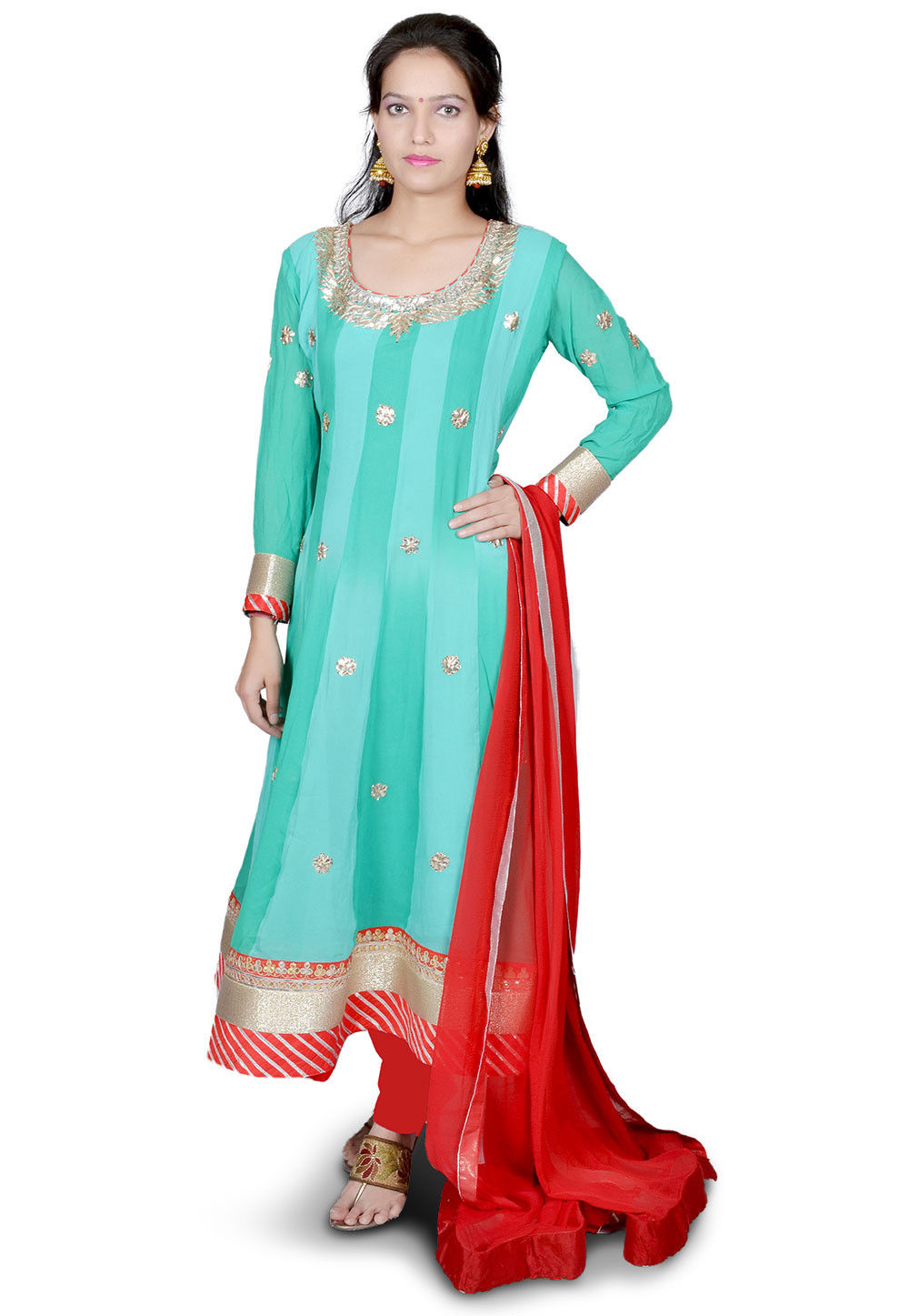 Hand Embroidered Georgette Anarkali Suit in Pastel Blue