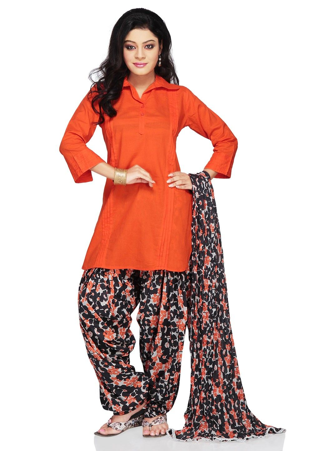 Tucked Cotton Punjabi Suit In Orange