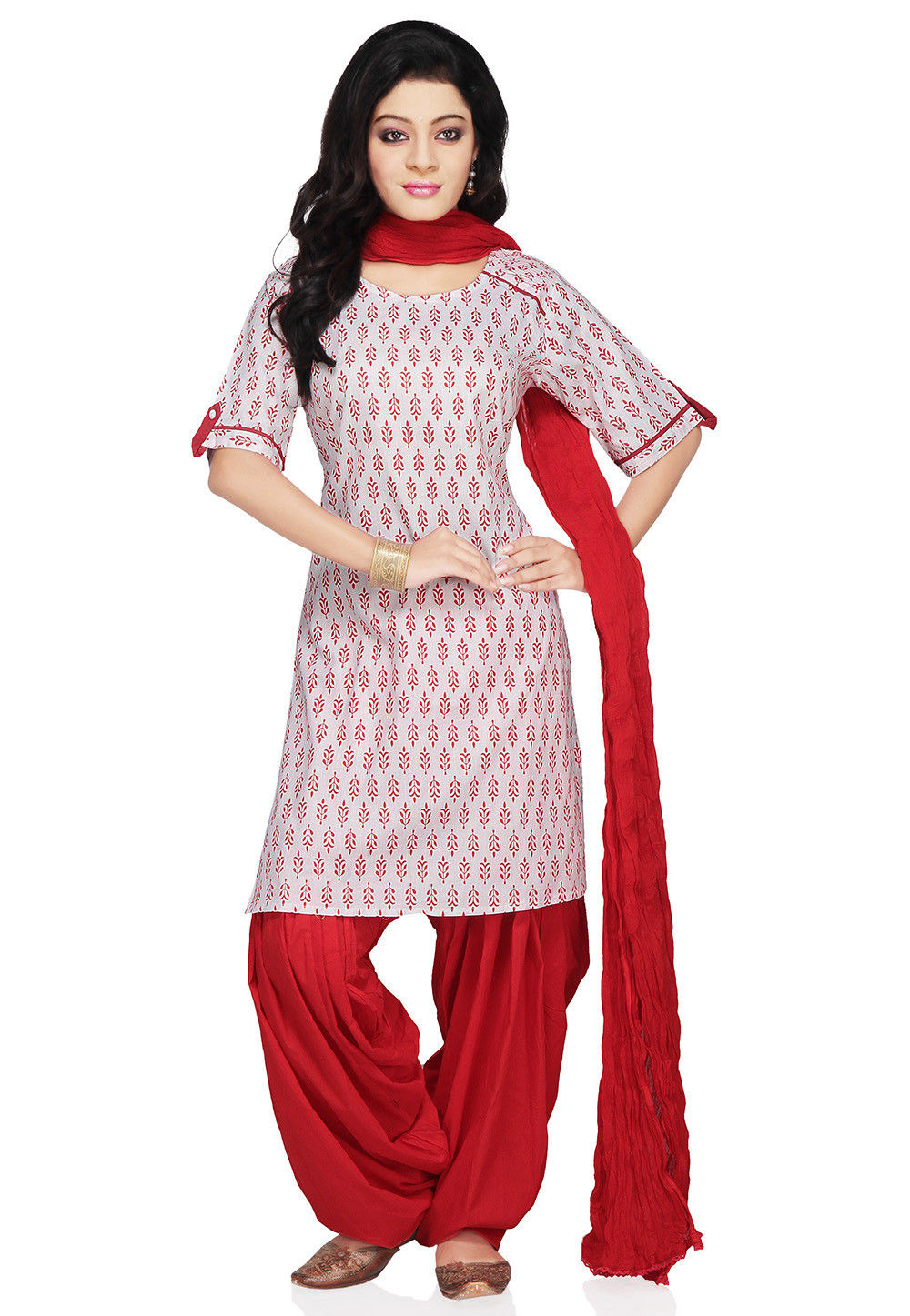 Printed Cotton Punjabi Suit in White