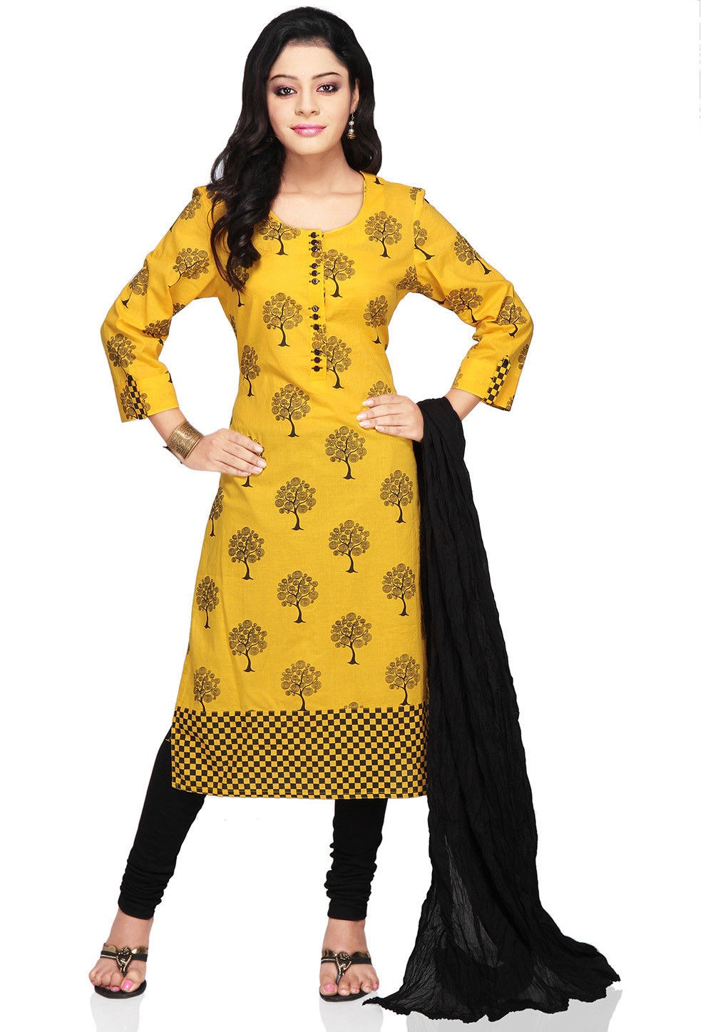 Printed Straight Cut Cotton Suit In Yellow