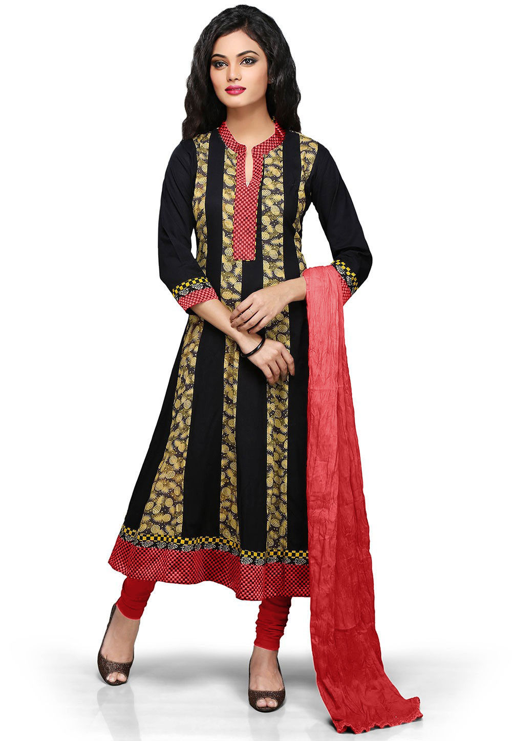 Printed Anarkali Suit in Black