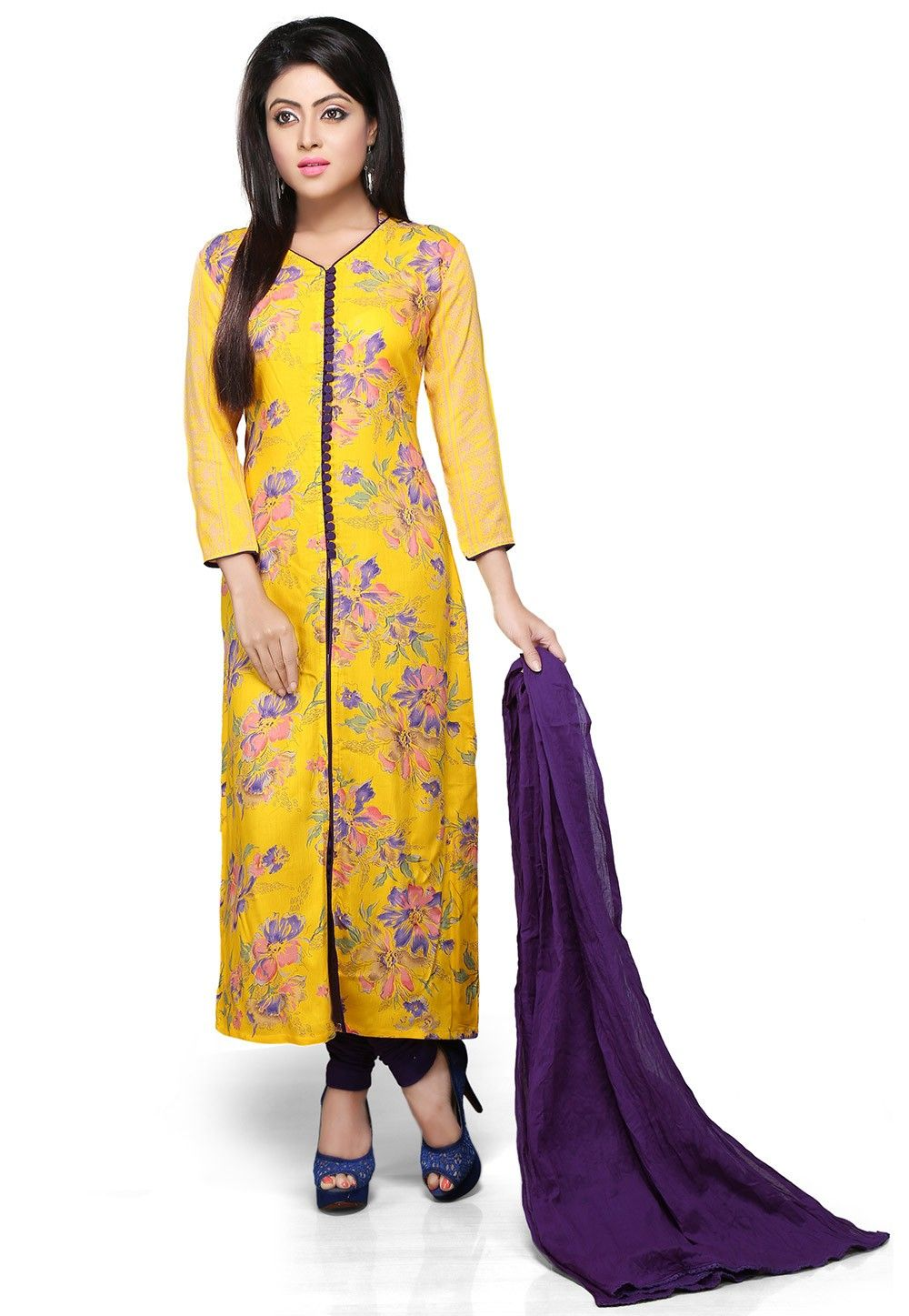 Printed Straight Cut Front Slit Suit in Yellow