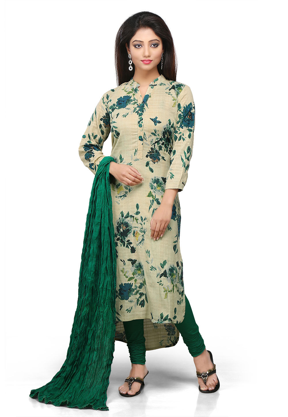 Printed Straight Cut Cotton Suit In Beige