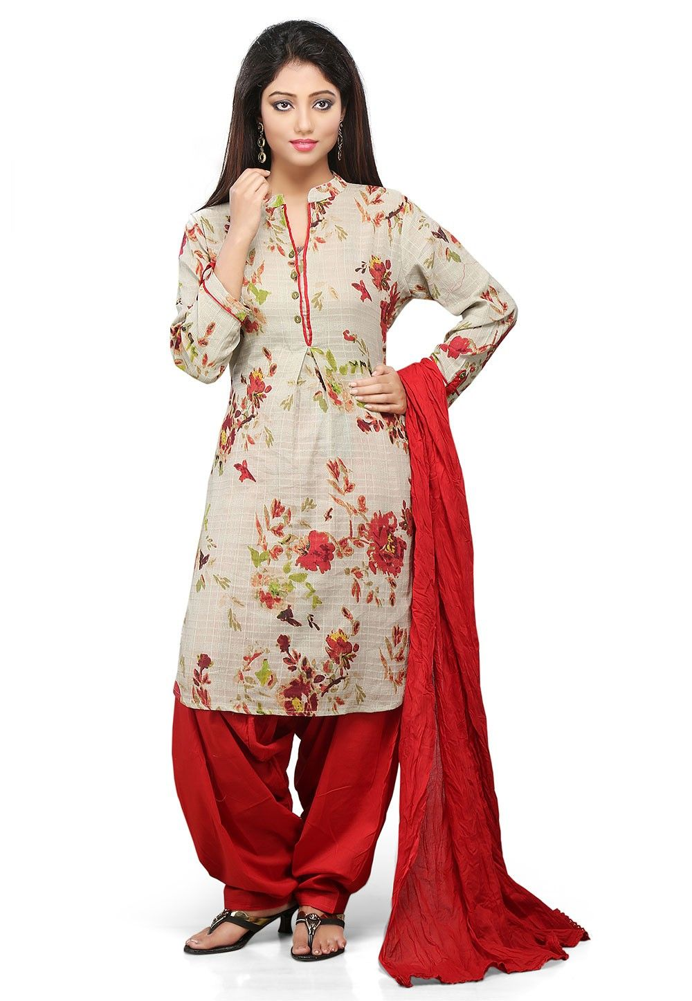 Printed Cotton Punjabi Suit In Beige