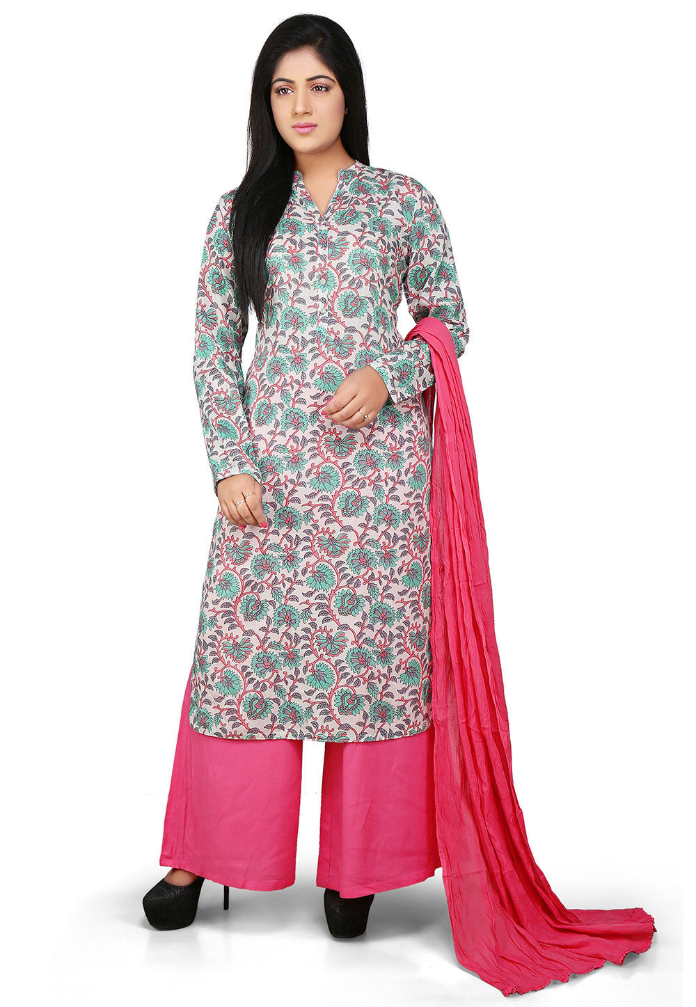 Printed Straight Cut Rayon Suit in Multicolor